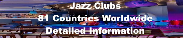 Jazz Clubs Worldwide Database. Countries Indexed.